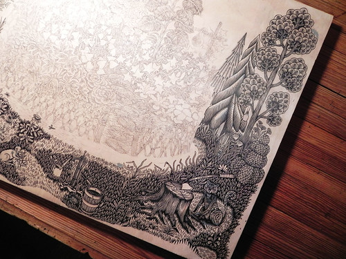 """GARDEN"" Woodcut Print in progress... 