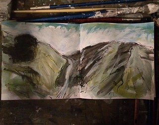 Over the hill. #drawing #sketch#sketchbook #picture #southdownsway #study | by the mid-century shed