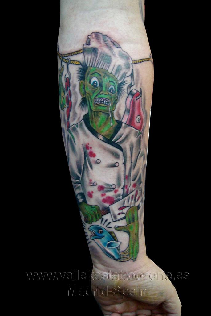 Tatuaje Cocinero Zombie En El Brazo Vallekas Tattoo Zone Madrid