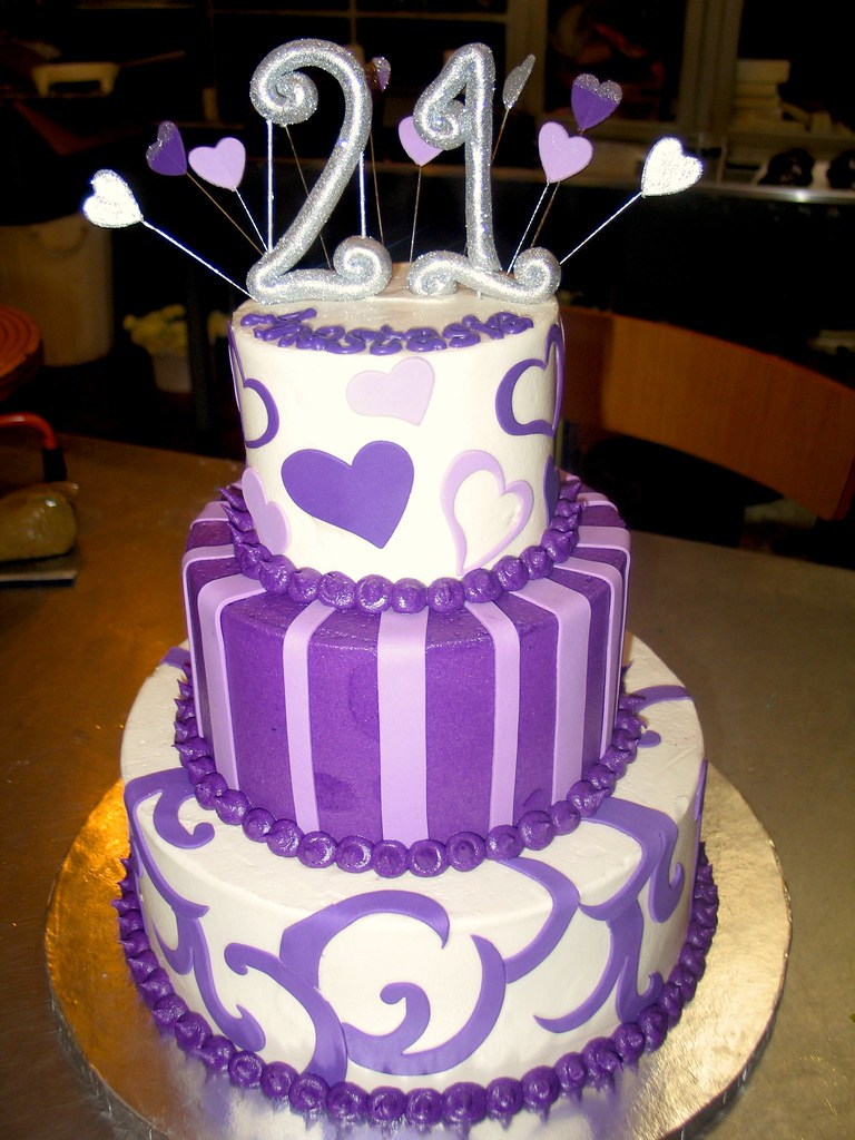 3tier Wicked Chocolate cake iced in white purple butter Flickr