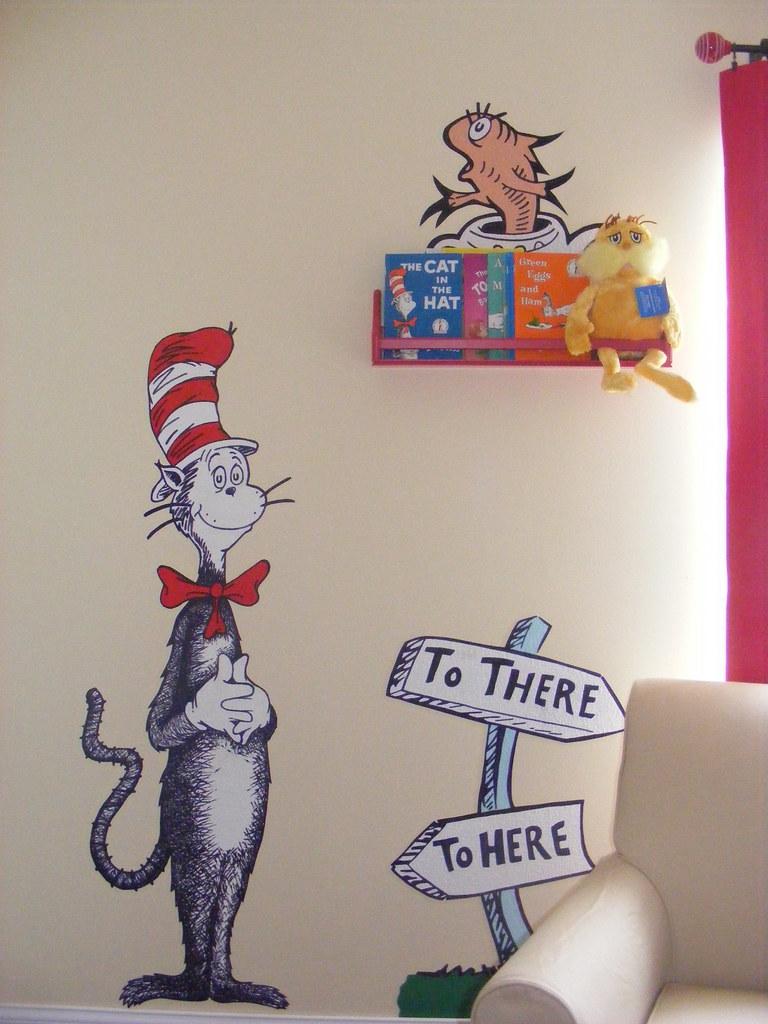 ... Dr Seuss Dr. Suess Theme Wallpaper Wall Paper Art Sticker Mural Decal  Handmade Hand Painted