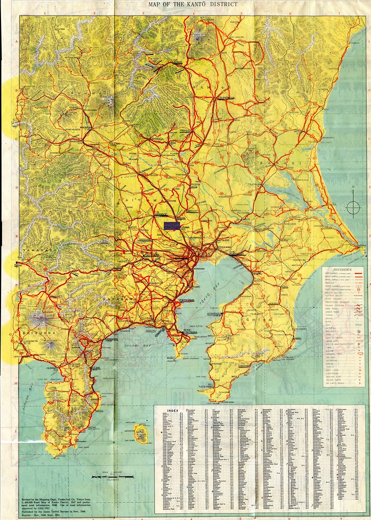 1948 World Map.1948 Kanto District Highway Map Showing The Region Around Flickr