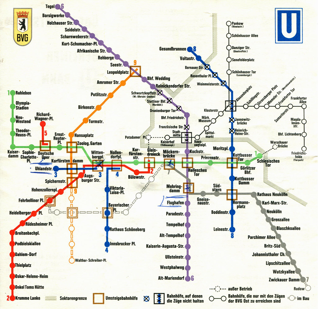 Berlin   U Bahn / Subway Map (1970) | A map of Berlin's U Ba… | Flickr