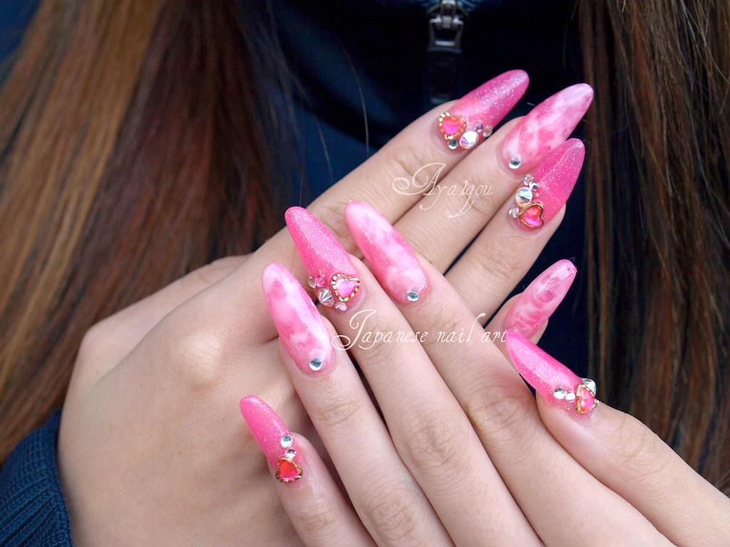Pink hime gyaru nail art   My client Acrylic sculptured nail…   Flickr