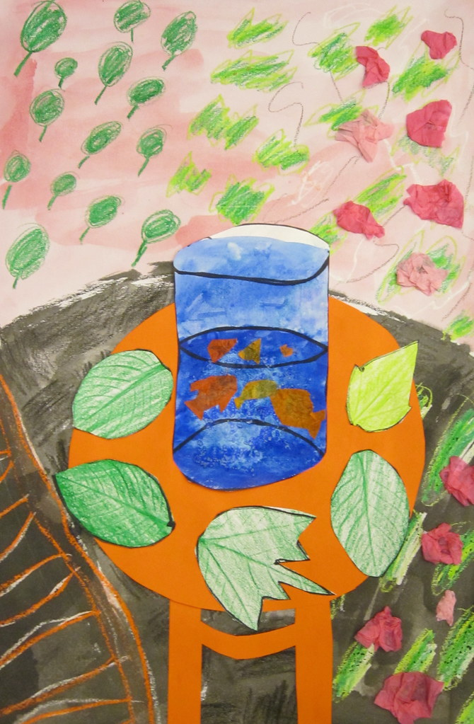 4th grade matisse goldfish mixed media collage by paulabaker