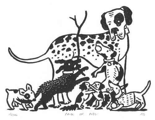Chris Brown, Pack of Dogs. Linocut. Courtesy the artist, St Jude's and YSP
