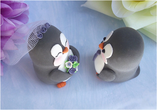penguin cake toppers wedding penguin wedding cake toppers purple white unique and 6441