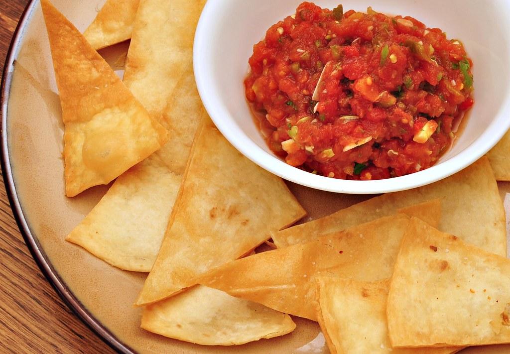 Mmm... deep fried flour tortilla wedges and homemade salsa… | Flickr