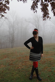 Fog outfit: Missoni for Target black and white chevron dress, red tights, Hunter wellies | by Célèste of Fashion is Evolution
