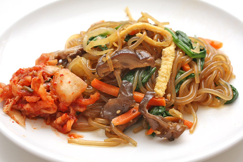 kimchi and japchae: perfect combination | by qonita