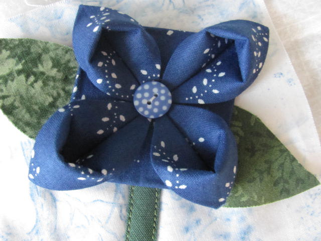 Origami folded hungarian blue fabric flowers pieces for a flickr origami folded hungarian blue fabric flowers by jocelyn in budapest mightylinksfo