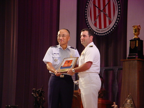Col Chang presenting the Fleet Admiral Nimitz Award to CDR Gino Celio, USNR | by USAF Shooting Team