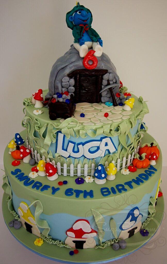 Lucas Miner Smurf Birthday Cake 10 Vanilla With Dark Cho Flickr