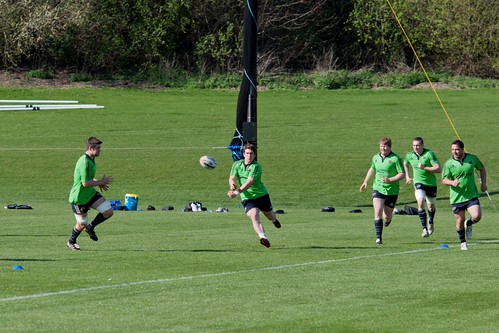 Ian Keatley passes the ball during training. | by Fota Island Resort