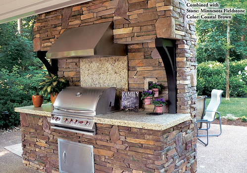 80% Eastern Mountain Ledge® - Coastal Brown & 20% Minnesota Fieldstone - Coastal Brown - Manufactured Stone Outdoor Barbecue | by Coronado Stone Products®