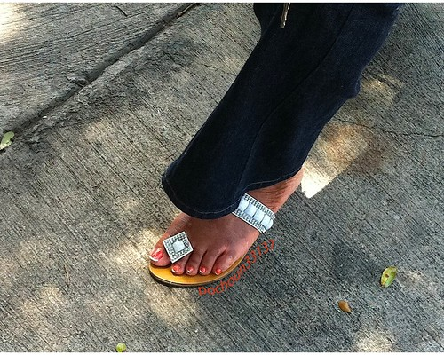 Mature Haitian Orange Pedicured Feet With French Tips Pt2 -5258