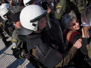 Greek riot police use shields to move protesters away from VIP stands | by Teacher Dude's BBQ
