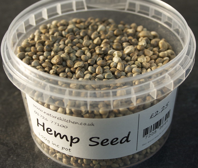Pot of hemp seeds