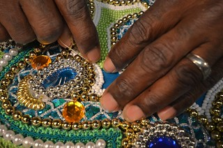 Big Chief Victor Harris, Spirit of Fi Yi Yi Working On His 2012 Mardi Gras Indian Suit | by Offbeat Magazine