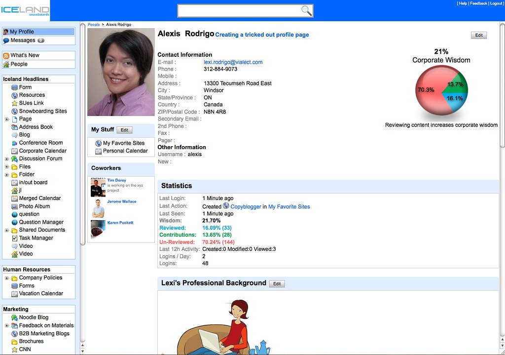 Social Intranet Feature Employee Profile Page in Noodle I – Employee Profile