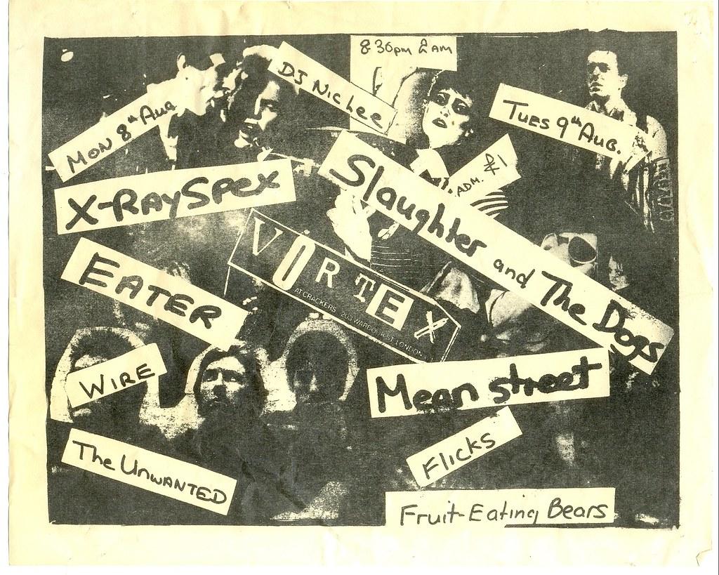 Flyer for The Vortex club, London punk rock gigs, 1977 | Flickr