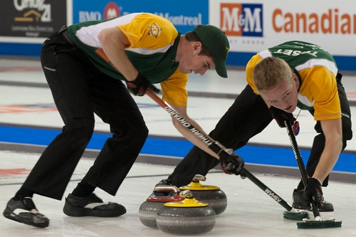 Napanee, ON Feb 12 2011 M&M Canadian Juniors Team NO Second Kyle Toset & Lead Joel Adams. Michael Burns Photo Ltd. | by seasonofchampions