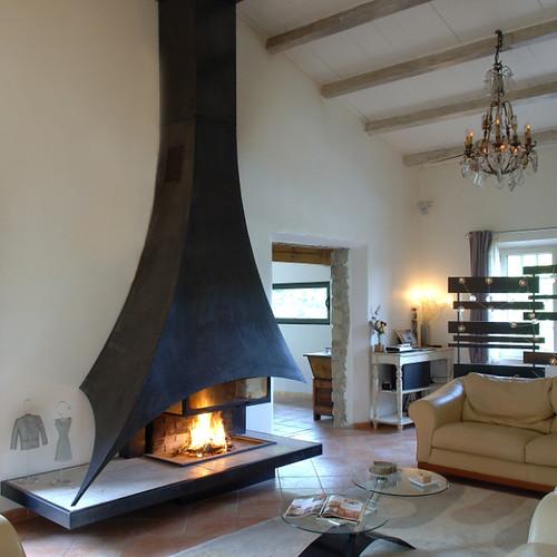 cheminee a bois foyer ouvert bois cheminee metal moderne l flickr. Black Bedroom Furniture Sets. Home Design Ideas