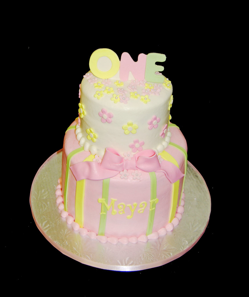 Pink Yellow And Green 1st Birthday Cake Dana Brown Flickr