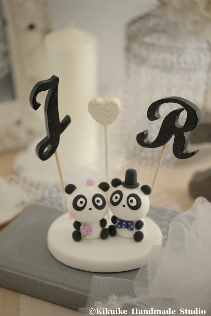 Panda With Initials Letters Wedding Cake Topper Www Etsy C Flickr
