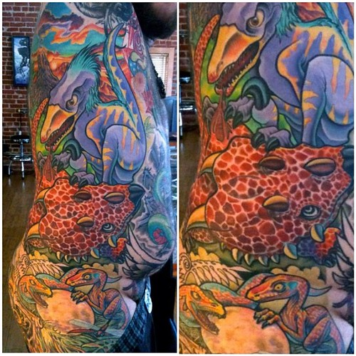 Tattoo of the day - Artist: @artofgunnar  - #tattoo #art #dinosaur #gunnar | by Tattooist Art Mag