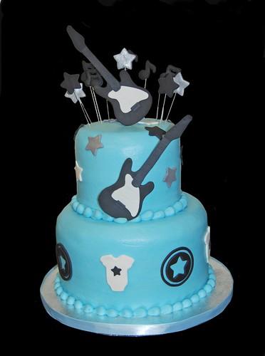 Blue And Black Rock Star Baby Shower Cake Dana Brown