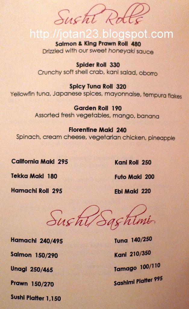 Geisha restaurant menu