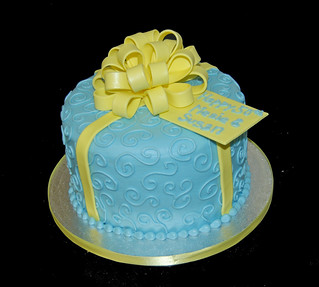 Blue and Yellow 50th Birthday Cake | by Sweet Shoppe Mom and Simply Sweets