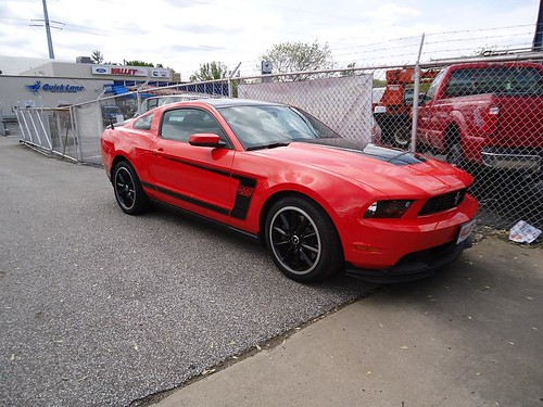 ford mustang boss 302 grabber red employee car front | by spotterjeff