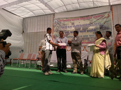 Dinesh Kumar saini taking prize in Rajasthan Agriculture College Udaipur Rajasthan in best vegetable & Fruit compitition (28-02-2012)28022012831 | by Debishankar saini