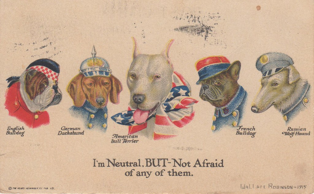 WWI illustrated postcard, US neutrality | Postcard emphasizi… | Flickr