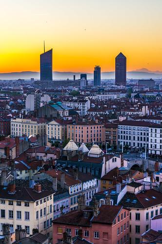 Sunrise over Lyon from Fourvière