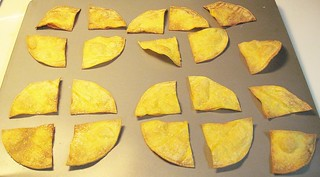 Fresh-baked corn tortilla chips | by SaucyGlo