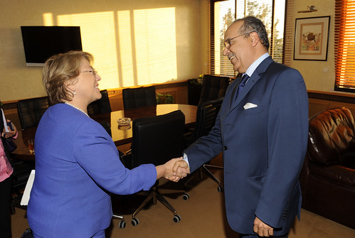 UN Women Executive Director Michelle Bachelet meets with Abdelouahed Souhail, Minister of Employment during a three-day visit to Morrocco | by UN Women Gallery