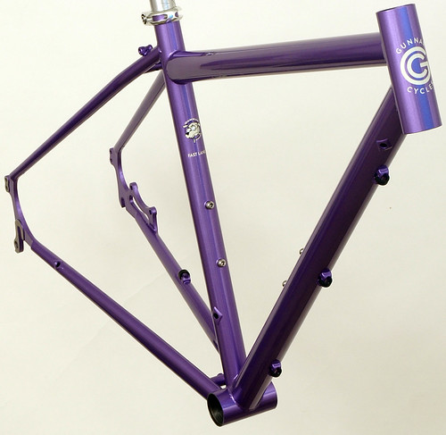 Gunnar Fastlane Custom in Starlight Purple with DI2 Routing - Front View | by Gunnar Cycles