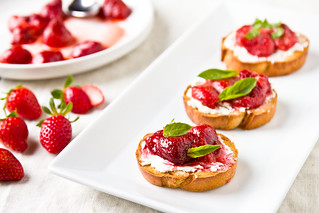 Roasted Strawberry Crostini with Basil and Goat Cheese | by TheBrewer&TheBaker