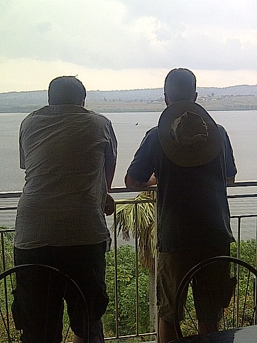 Paul & Billy ruminating over Lake Victoria | by Neil Hawke