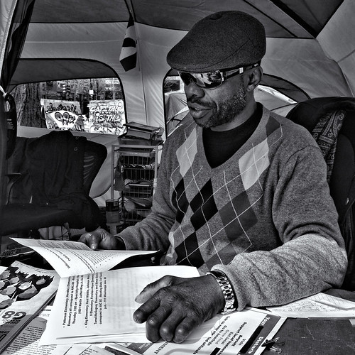 Larry Foster, Information Center, Occupy DC, McPherson Square, Washington, DC | by Gerald L. Campbell