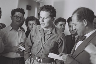 Journalists Moshe Zak and Yosef Olitzky Interviewing Hagana Commander Amos Ben Gurion | by Government Press Office (GPO)