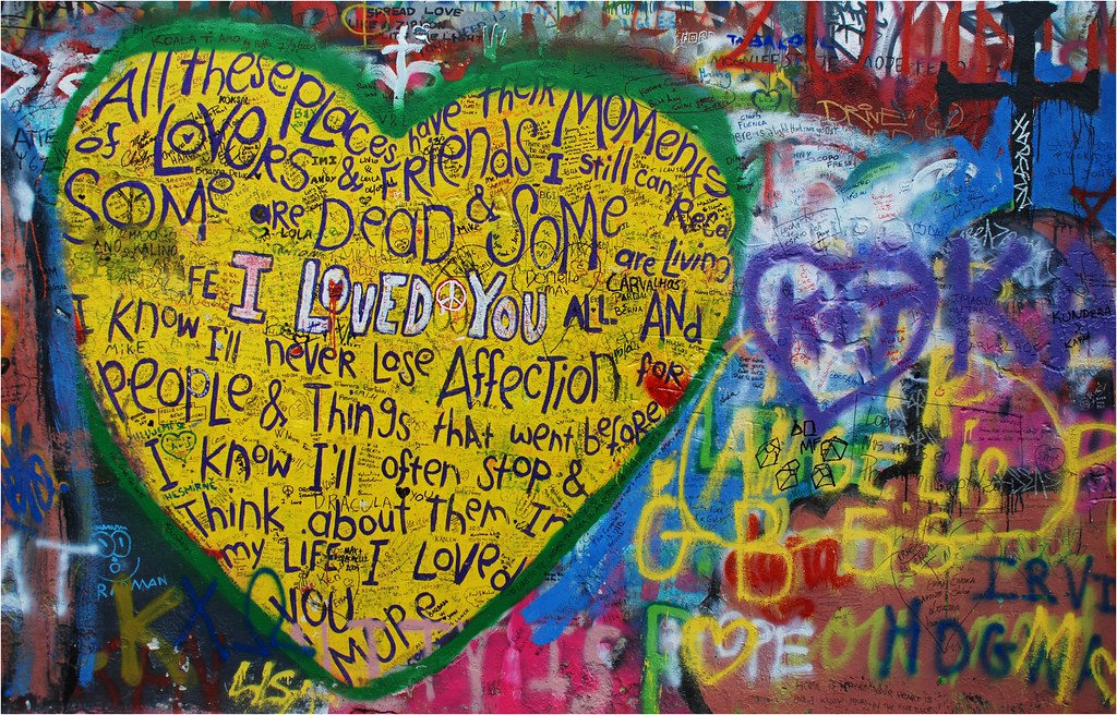 John Lennon Wall Heart | Graffiti started appearing on this … | Flickr