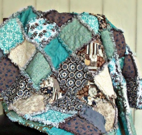 Taupe Teal Grey Tan Cream Blue Brown Rag Quilt Modern