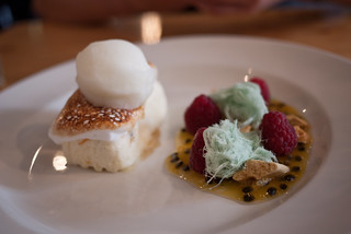 Nougat parfait with marshmallow, raspberry, passionfruit, persian fairy floss, raspberry and lemon sorbet at Axil | by hyteng