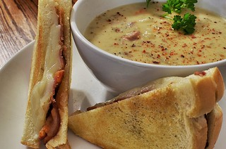 Mmm... grilled bacon/cheddar with potato soup | by jeffreyw