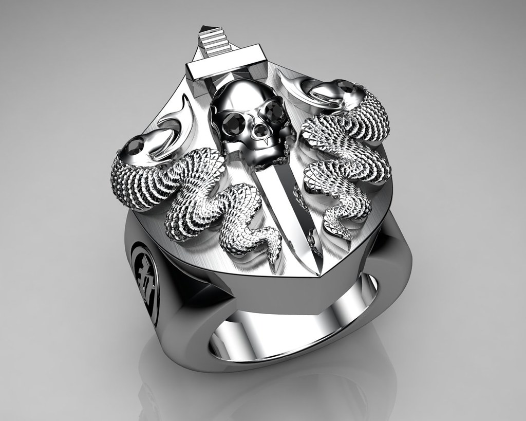 Unique Mens Ring Snake and Skull Shield Ring Sterling Silv Flickr