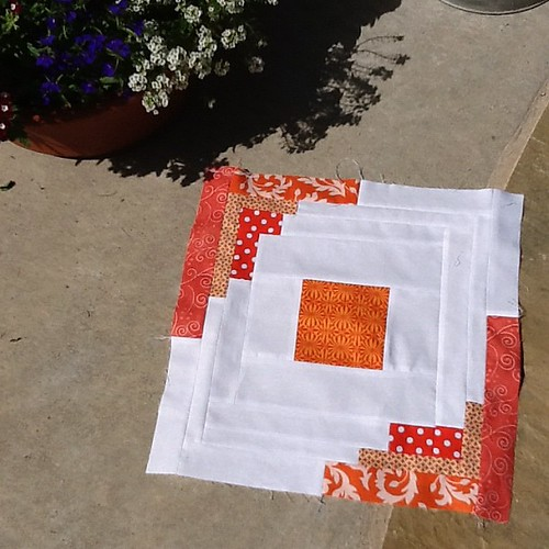 Aqua and Orange Bee Block | by Katherine of Honeyhill Designs